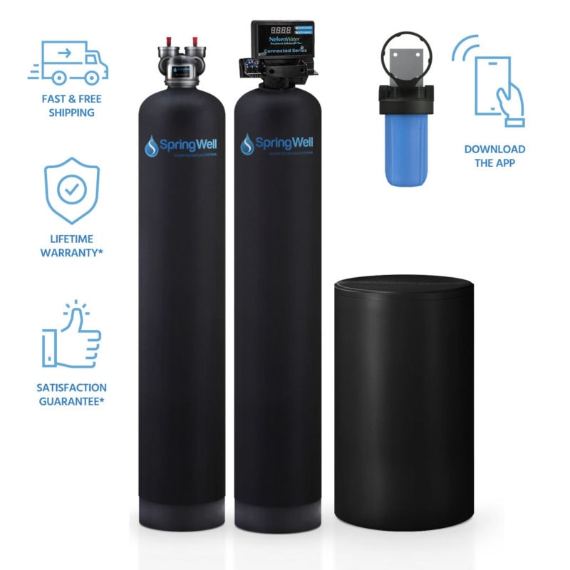 water filter and salt based water softener combo