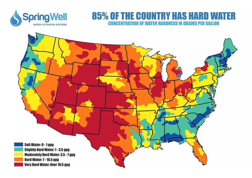 usa hard water map
