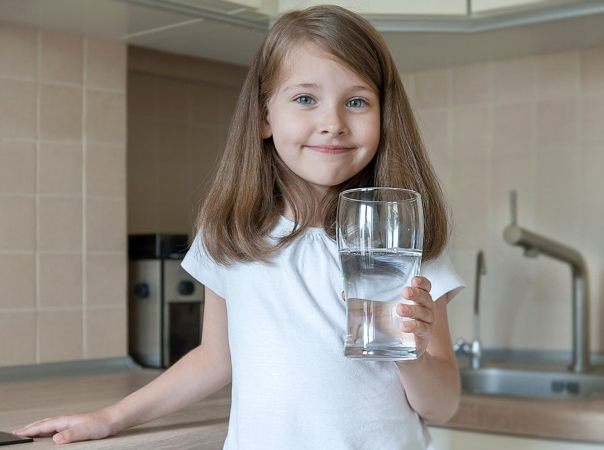 girl drinking clean filtered water
